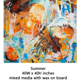 Summer - Mixed Media on Board - 40 x 40 inches-1500p-for site